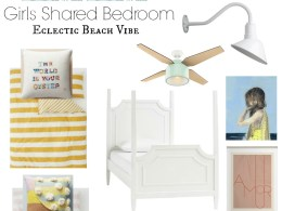 Girls Shared Bedroom Idea- Eclectic Beach Vibe