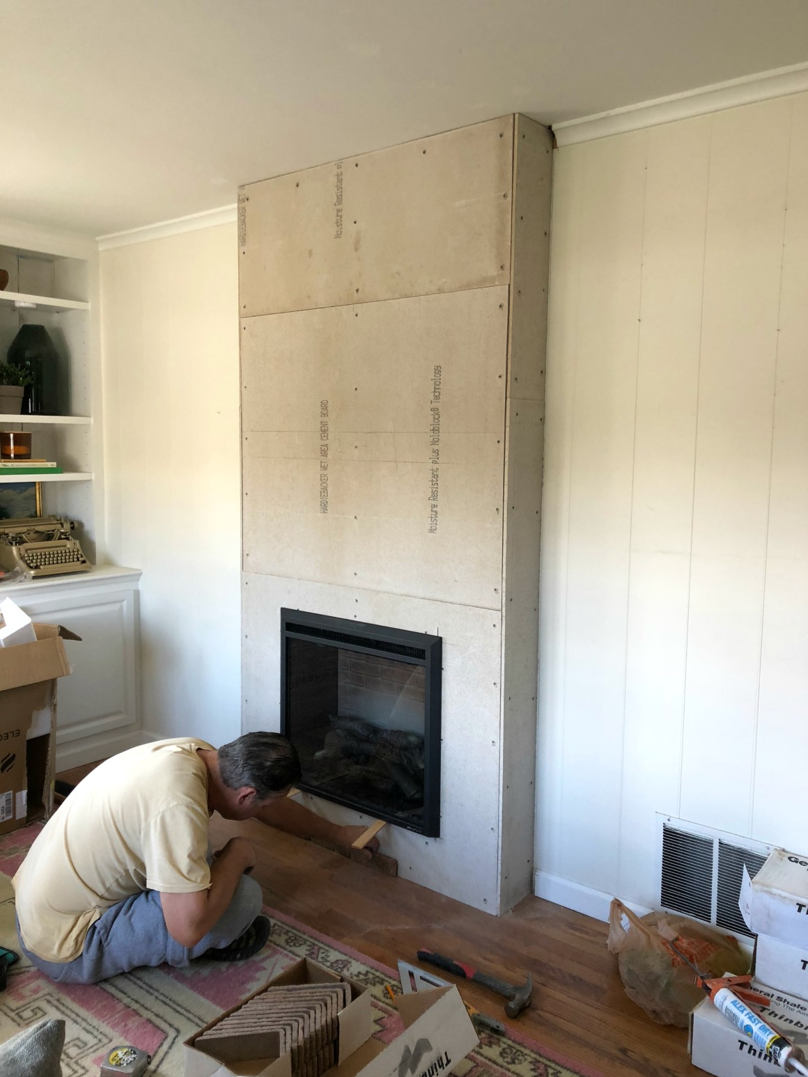 Fireplace Reveal- Our Electric Brick Fireplace - Nesting With Grace