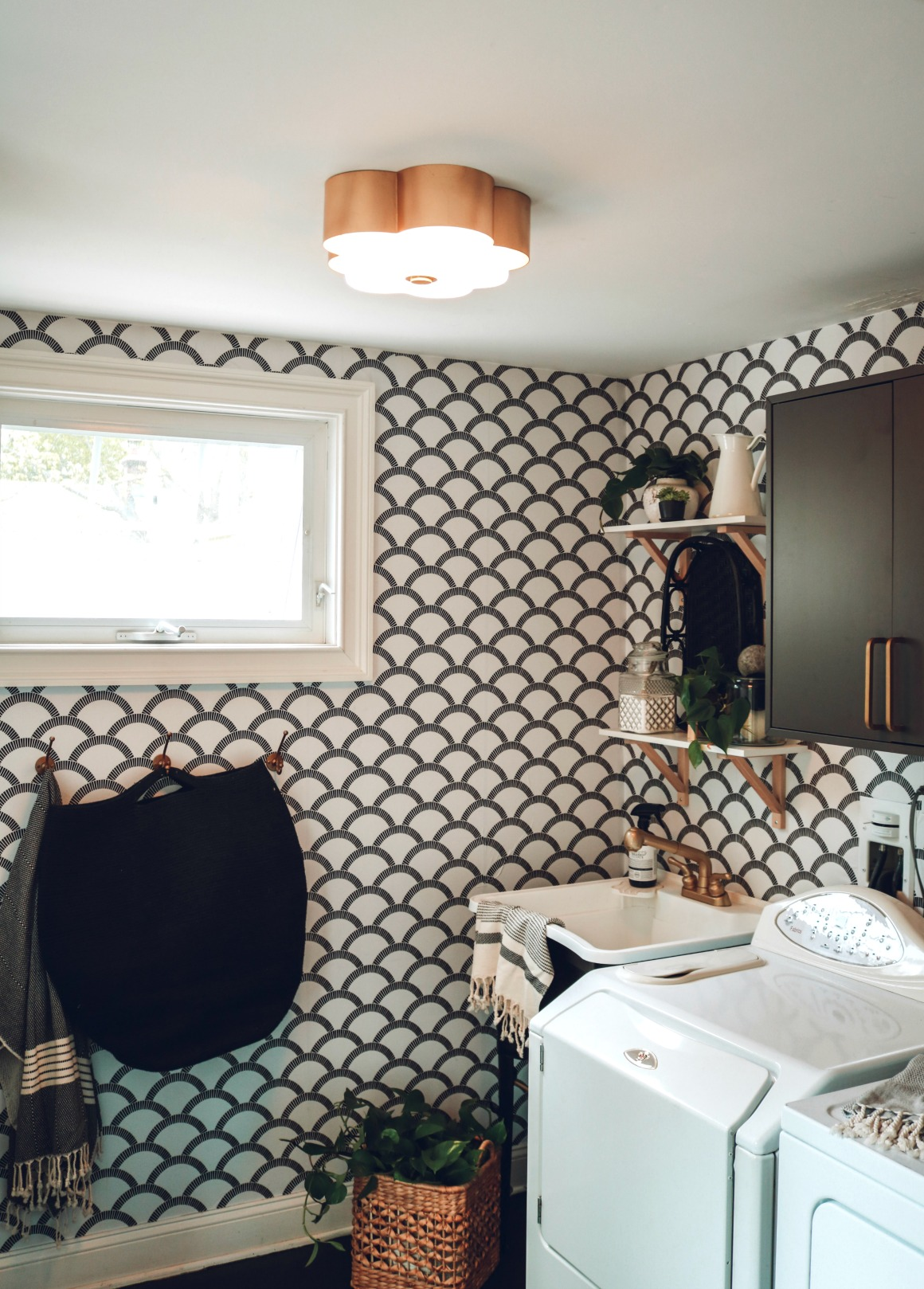 Laundry Room Makeover with Tempaper Removable Wallpaper and