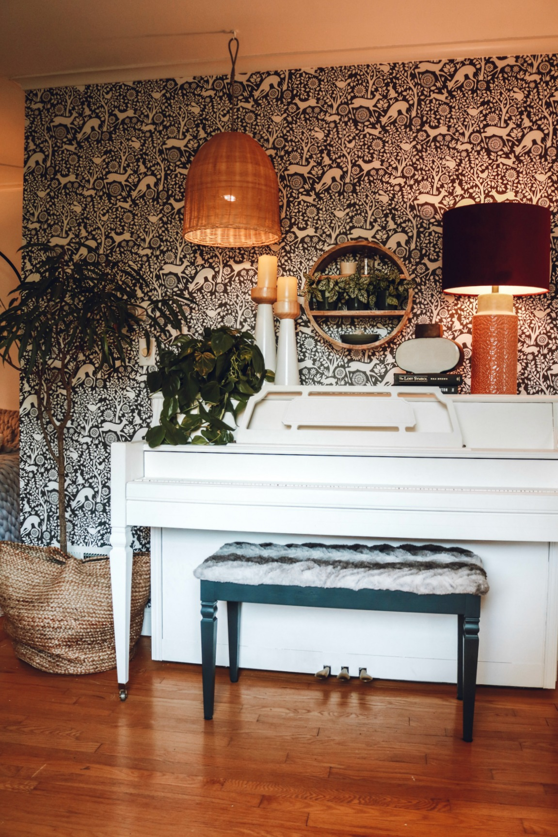 Painted White Piano with Wallpaper Accent Wall