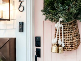 Christmas Front Porch with Fresh Greens and Pink Front Door