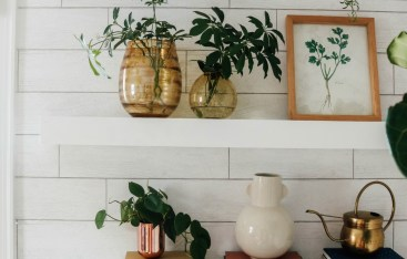 "DIY Floating Shelves- Get the Custom ""built-in"" look with Wallpaper!"