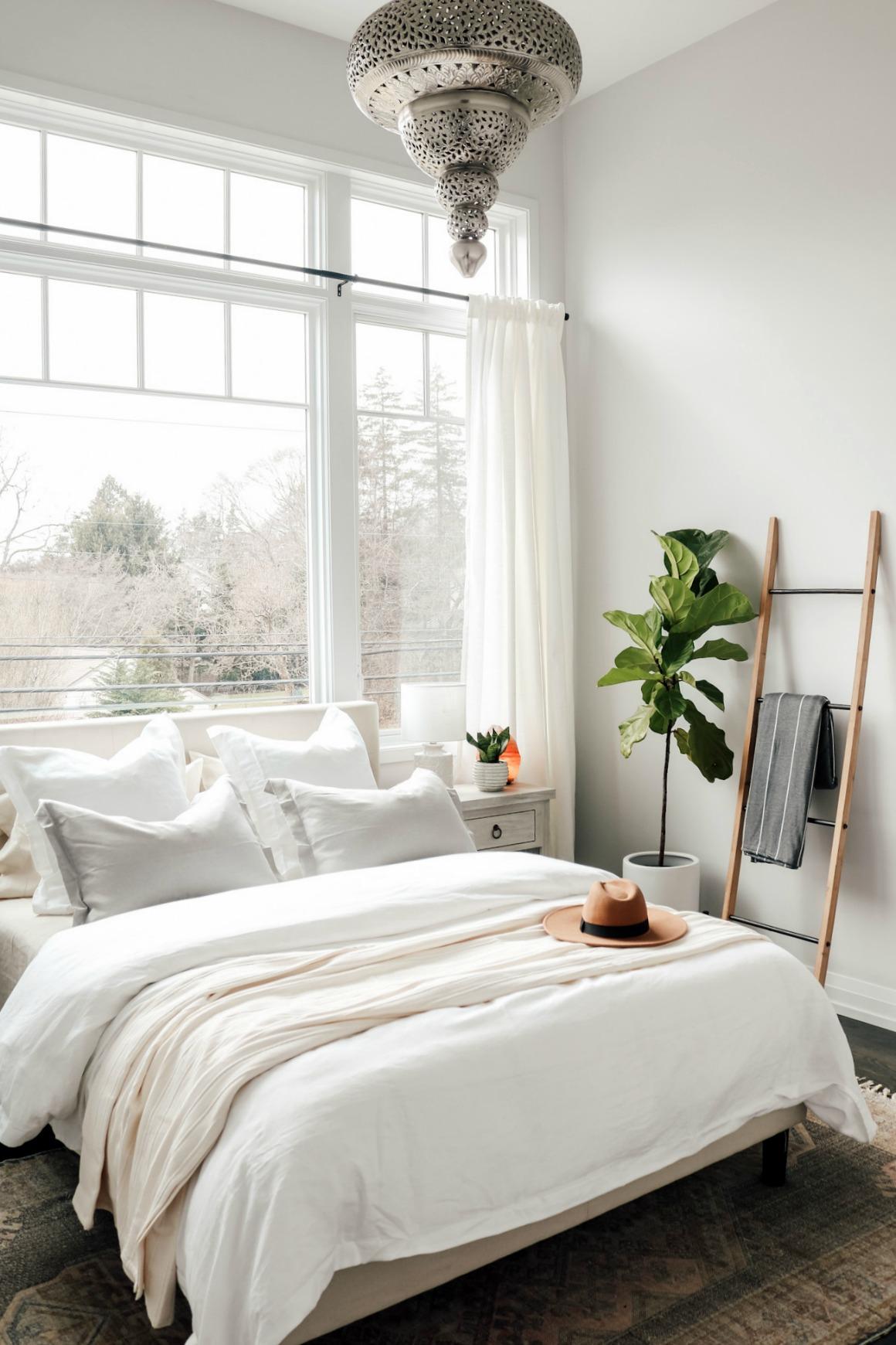 White Boho Master Bedroom Makeover - Nesting With Grace