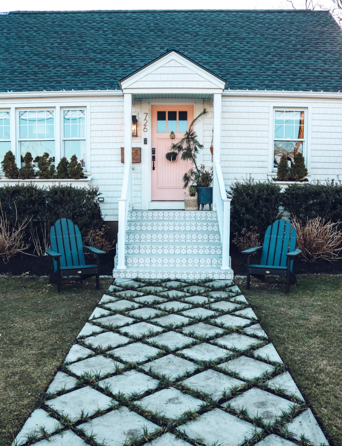 Front Walkway Update with Concrete Stepping Stones with Grass