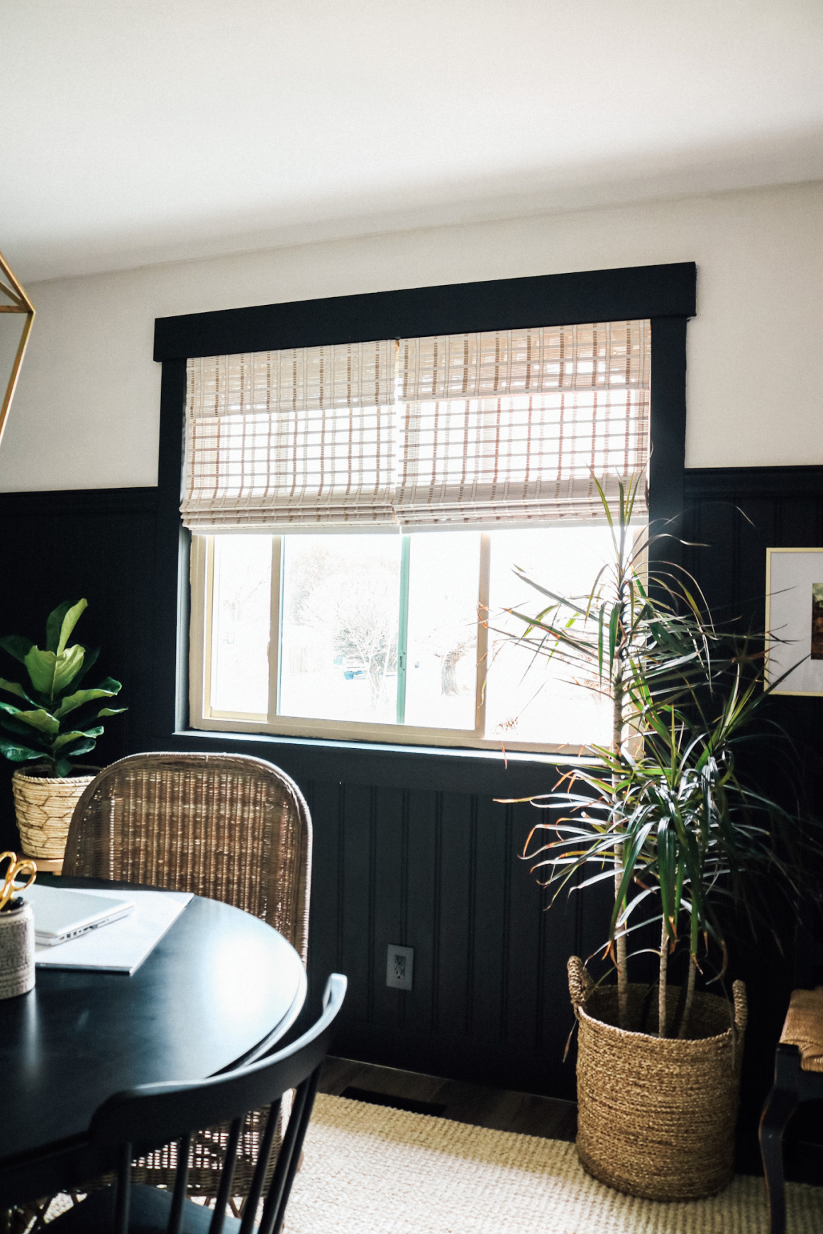 Home Office with Wallpaper and Beadboard Accent Walls
