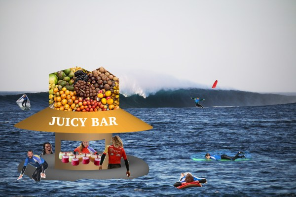 Floating juice bar next to a surf break