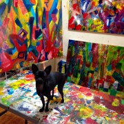 Ginger in the art studio of Los Angeles abstract painter Nestor Toro