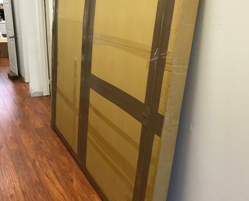 Large custom made crate shipping a painting by abstract painter Nestor Toro