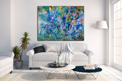 Blue Reunion - Organic Abstract - DEEP EDGE READY TO HANG (2016) Acrylic painting by Nestor Toro