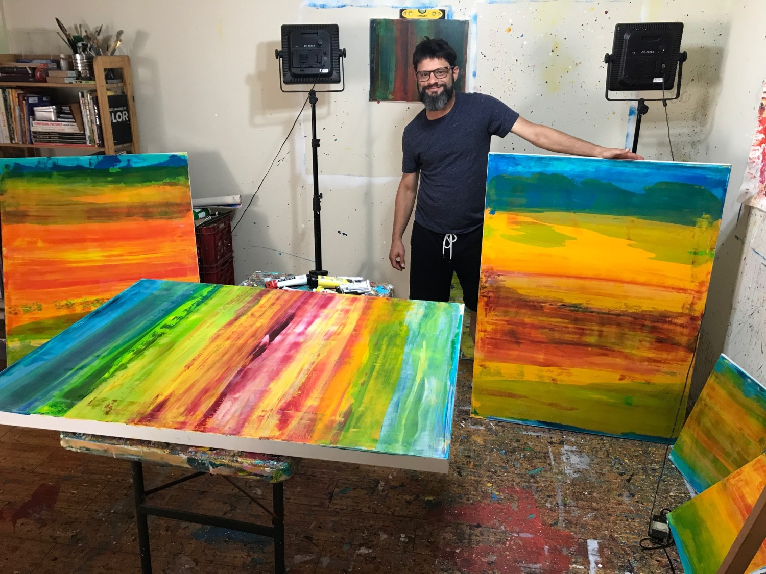 Los Angeles abstract artist Nestor Toro working on a large commission in Hollywood