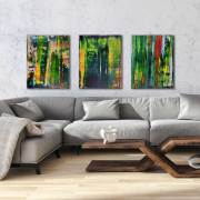 Abstract Painting - Battle of Trees - Triptych (2017) Acrylic painting by Nestor Toro in Los Angeles 2017