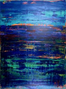 SOLD - Ocean Particles-Oceanic Colorfield - Acrylic painting by Nestor Toro - Sold to collector in Los Angeles