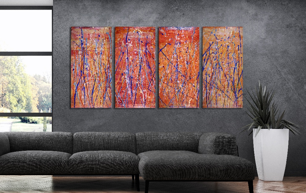 Dancing Frequencies (2017) acrylic 4 panel painting by Nestor Toro