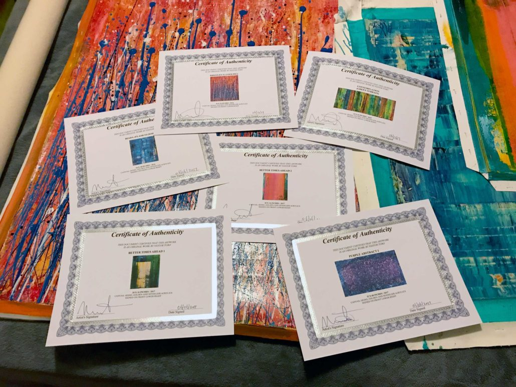 Certificates of Authenticity for paintings by artist Nestor Toro