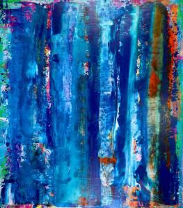 SOLD - visionary terrain 3by abstract painter artist - Nestor Toro