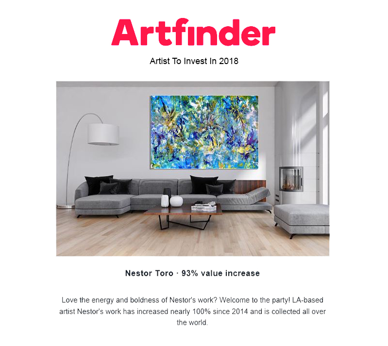 Artfinder gallery recommends investing in Nestor Toro's artwork as it has increased there by nearly 100% since he started selling in 2014