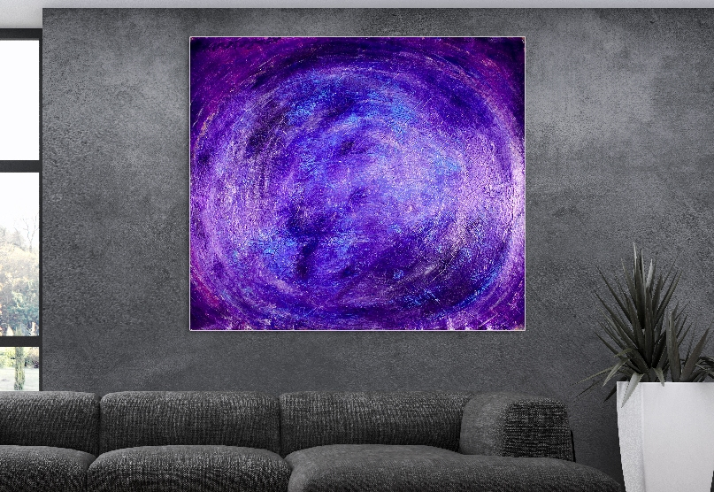 Vortex in Vibrant Purple. (2018) Acrylic painting by Nestor Toro