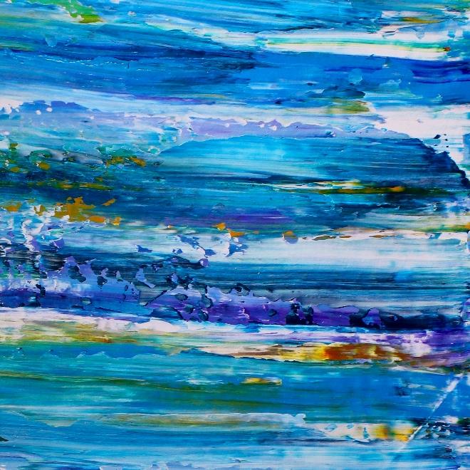 Blue Satin Ocean (2018) Acrylic painting by Nestor Toro in Los Angeles