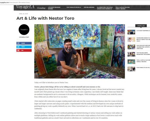 Read my interview on the fantastic online magazine. The interview was published April 30, 2018 - Nestor Toro - Los Angeles