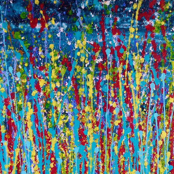 SOLD - Night color explosion (2018) abstract art Acrylic painting by Nestor Toro