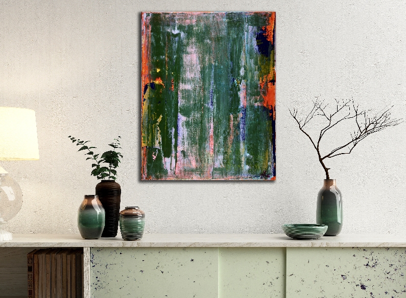 Oxide Green Spectra (2018) Acrylic abstract art painting by Nestor Toro