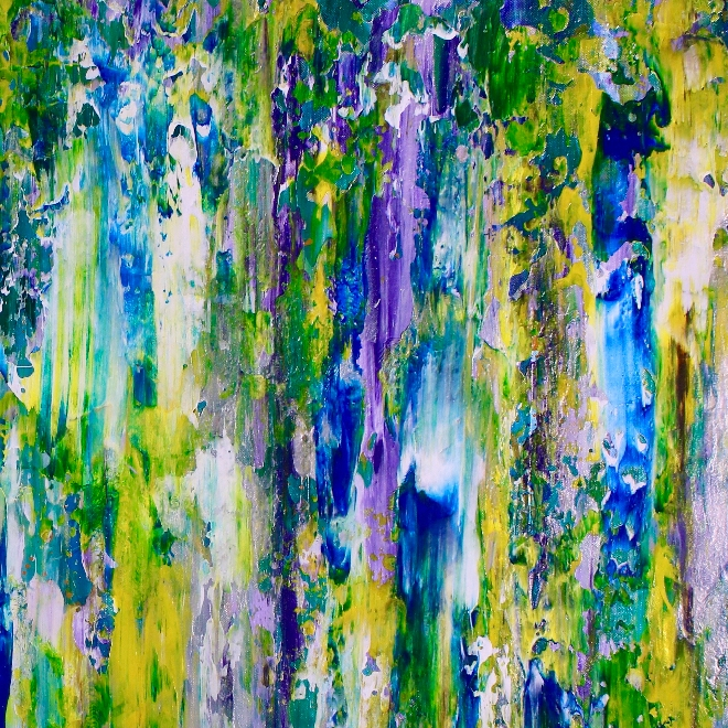 Terra storm with moon light FREE SHIPPING! (2018) abstract art Acrylic painting by Nestor Toro