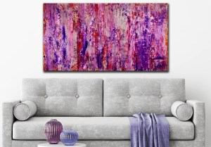 Purple storm with silver light (2018) abstract art Acrylic painting by Nestor Toro