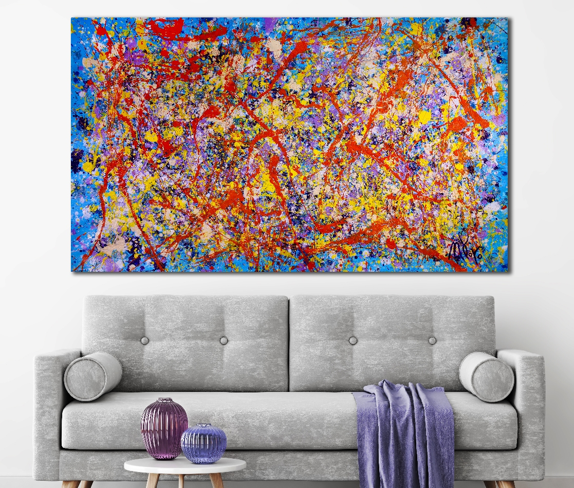 Color storm with shining lights - FREE SHIPPING TO EUROPE!! (2018) abstract art Acrylic painting by Nestor Toro