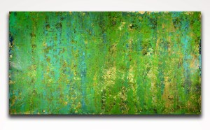 SOLD - Green Dreamscape with gold (2018) abstract art Acrylic painting by Nestor Toro