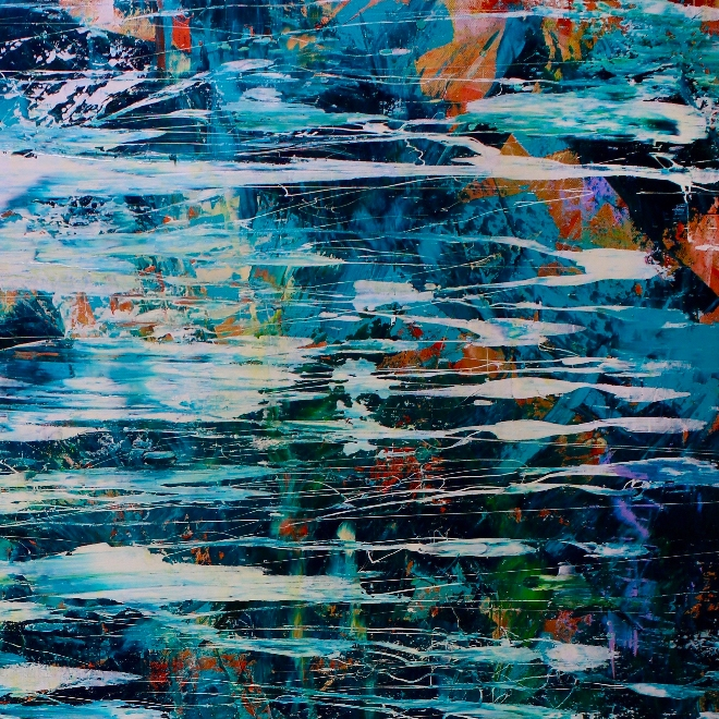 Detail - Behind the secrets (2018) abstract art Acrylic painting by Nestor Toro
