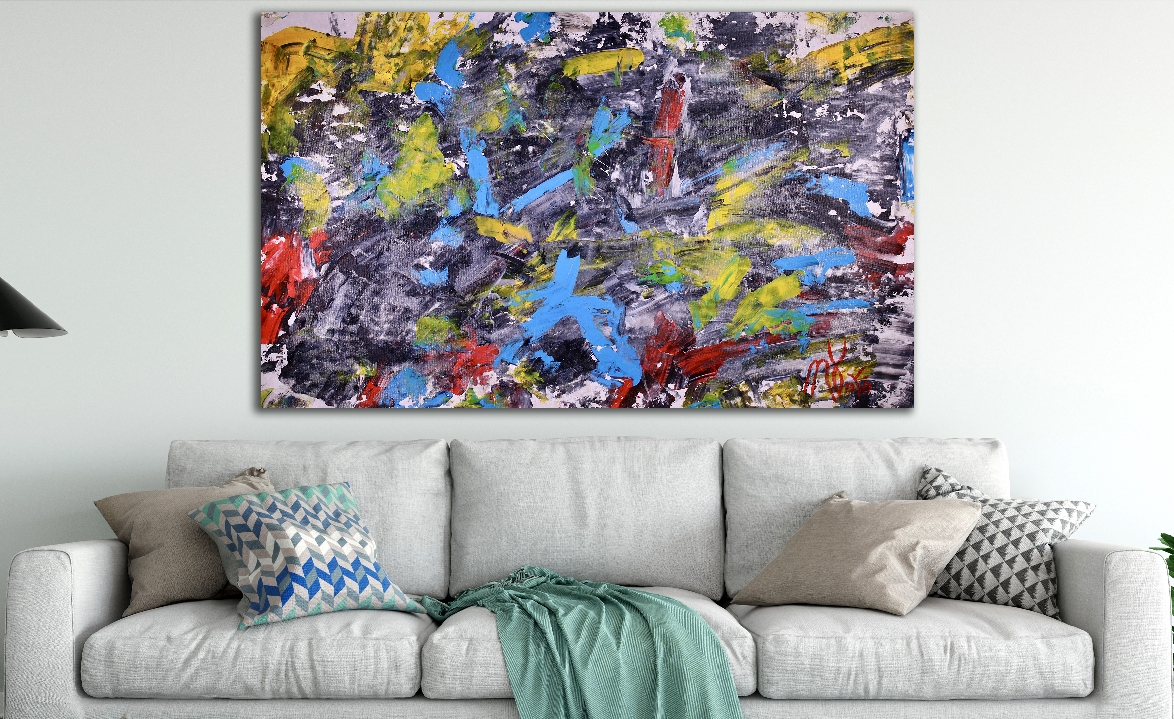 Spontaneous statement (2018) Expressionistic Abstract Acrylic painting by Nestor Toro