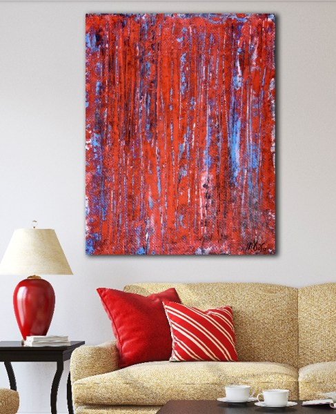 Red spectra (USA) (2018) Expressionistic Abstract Acrylic painting by Nestor Toro
