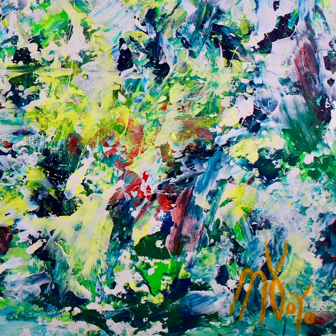 With the lights on (2018) expressionistic Acrylic painting by Nestor Toro