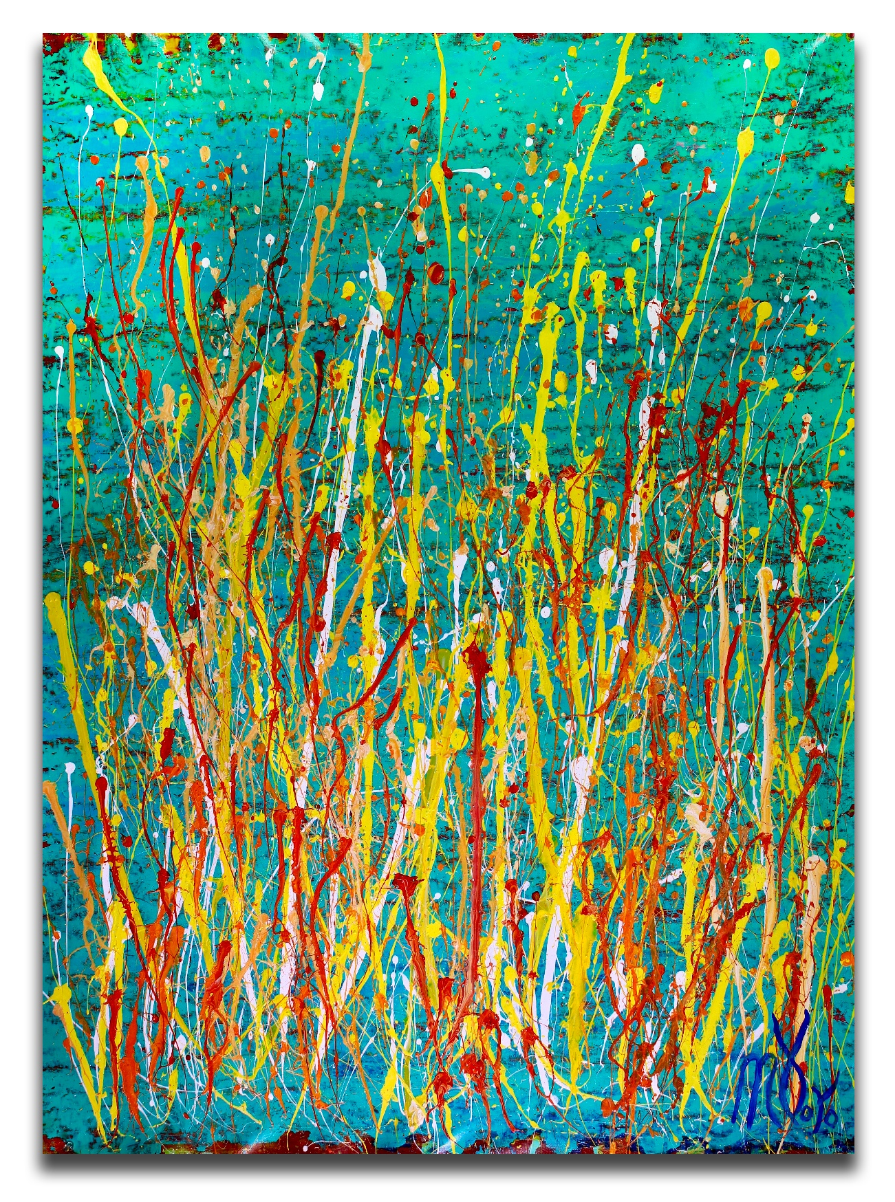 Sold - Drizzles frenzy over aqua green (2018) Abstract Acrylic painting by Nestor Toro
