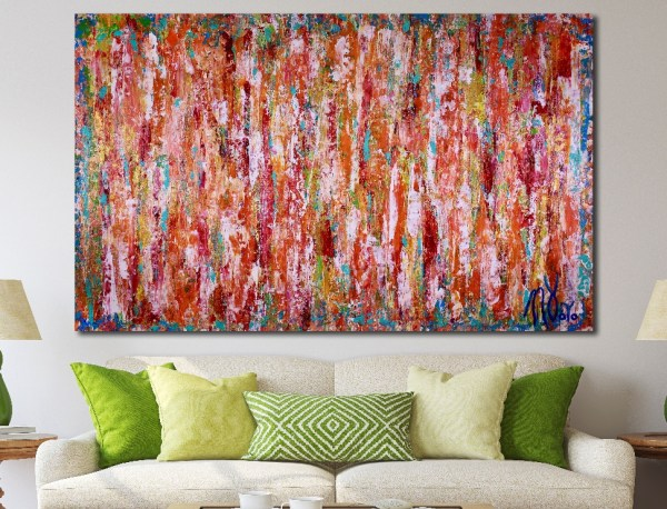Room View / Echoes in paradise- BOLD! statement piece (2018) Expressionist Acrylic painting by Nestor Toro