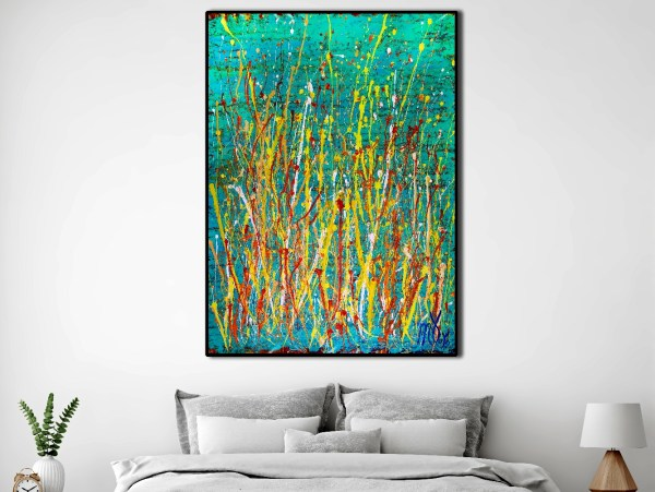 SOLD - Room View / Drizzles frenzy over aqua green (2018) Abstract Acrylic painting by Nestor Toro