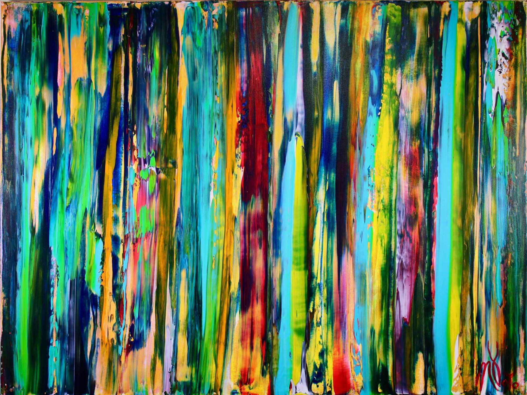 SOLD - Deconstructed Forest 2 (2018) Abstract Acrylic painting by Nestor Toro