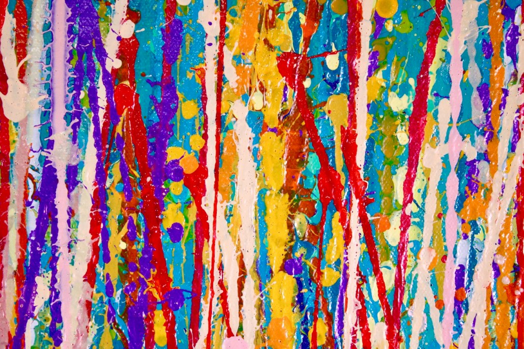 Detail - SOLD Abstract - Energy Garden (2018) Abstract Expressionistic Acrylic painting by Nestor Toro