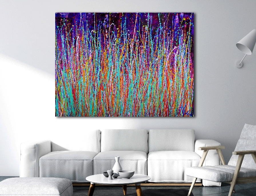 SOLD / A closer look - Infinitely lucky (2018) Abstract Expressionistic Acrylic painting by Nestor Toro