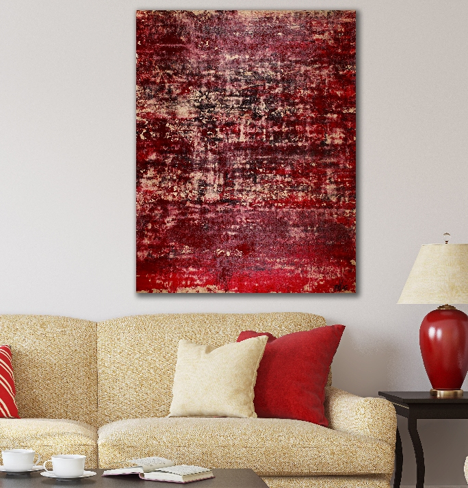 Golden shadows over red (2018) Abstract Acrylic painting by Nestor Toro