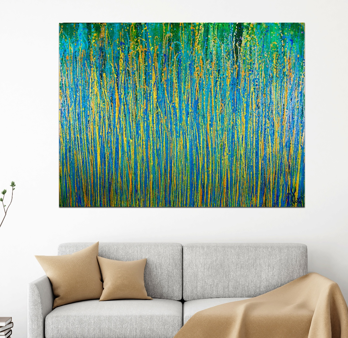 Room View - Under the morning sun - abstract painting by Nestor Toro