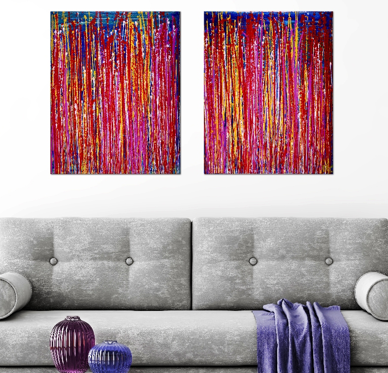 SOLD - Interrupted Color Blast by Nestor Toro (2019) - Diptych