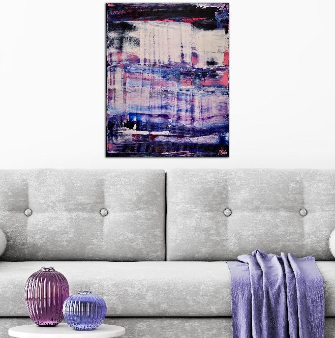 ROOM VIEW - Sky Panorama ( turbulence) (2019) Abstract Acrylic painting by Nestor Toro