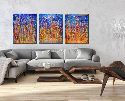 SOLD Artwork - Interrupted Panorama I - 122 x 51 cm - Triptych (2017) Abstract Acrylic painting by Nestor Toro