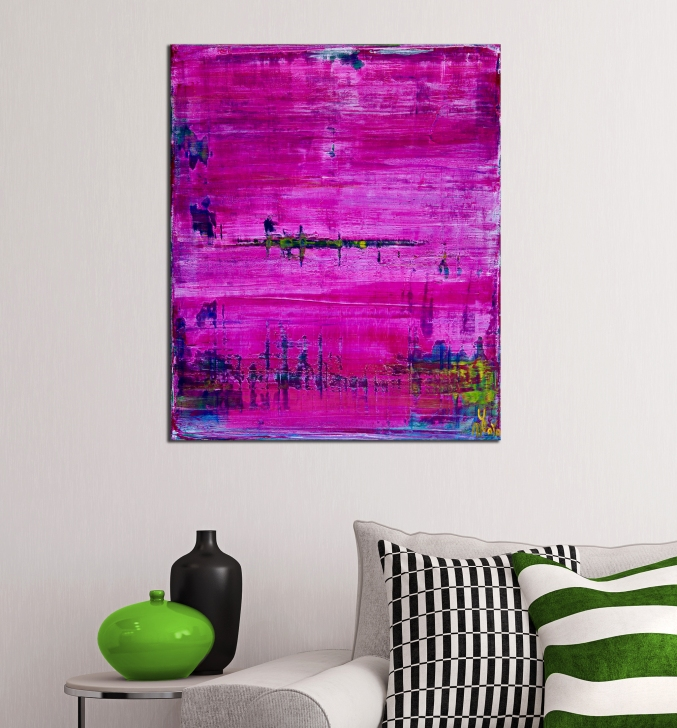 Distant pink panorama (2019) Abstract acrylic painting by Nestor Toro