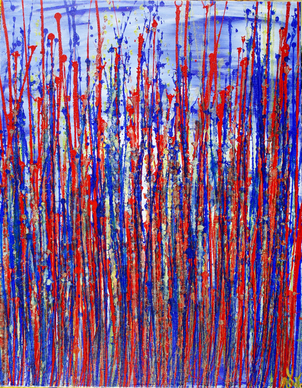 FULL CANVAS - Red and blue reflections by Nestor Toro (2019) in Los Angeles