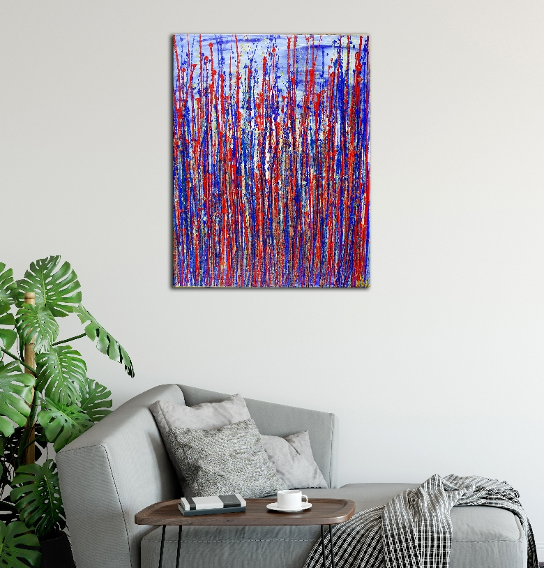 Red and blue reflections by Nestor Toro (2019) - SOLD ABSTRACT Acrylic painting - Los Angeles