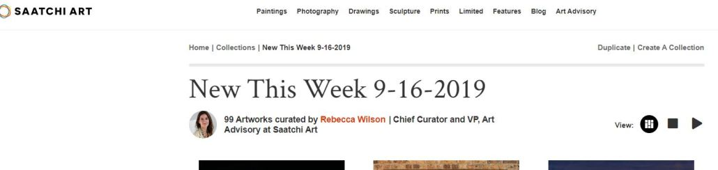 Nestor Toro's work featured 2 weeks in a row on Chief Curator for Saatchi Art Rebecca Wilson