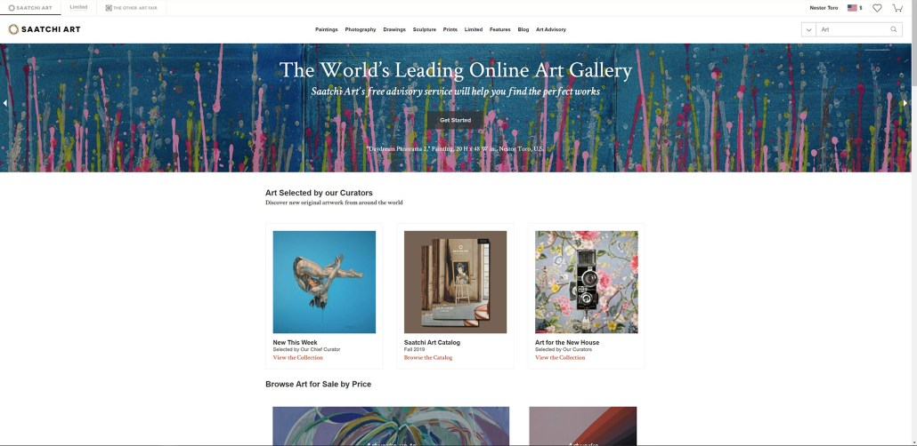 "Nestor Toro's abstract painting ""Daydream Panorama 2"" displayed on the Saatchi Art home page September 9th - 14th, 2019"