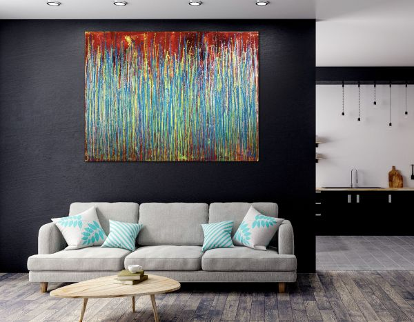 Room View - Daring natural synergy | Energetic abstract painting by Nestor Toro (2020)